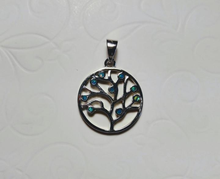 Tree of Life Pendant - Blue - 2x2cm