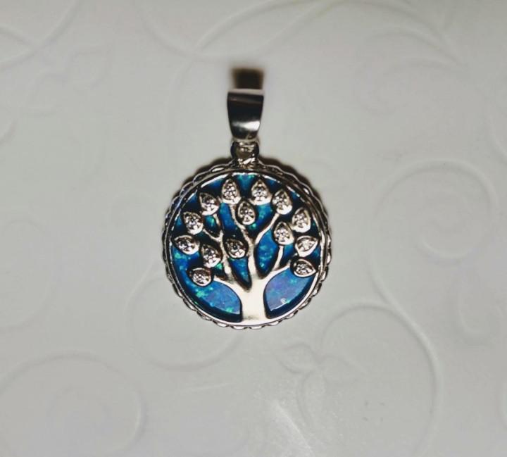 Tree of Life Pendant - Blue - 1,8x1,8cm