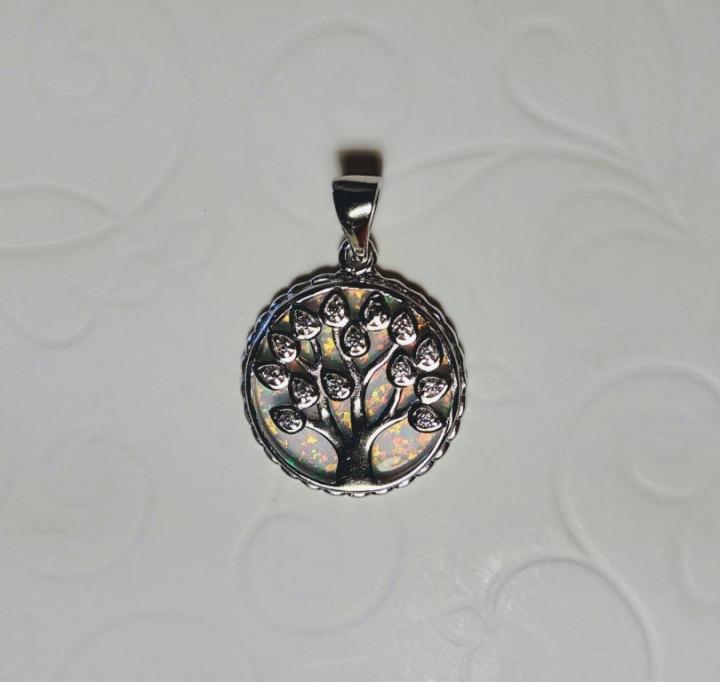 Tree of Life Pendant - White - 1,8x1,8cm