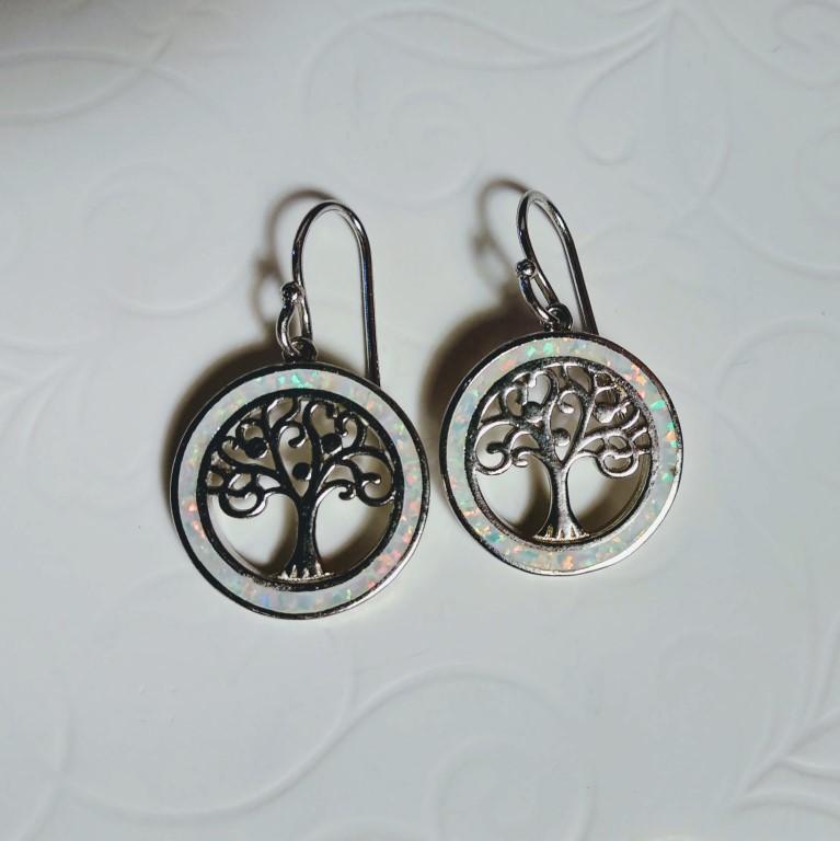 Tree of Life mini dangle Earrings - White - 1,7x1,7cm