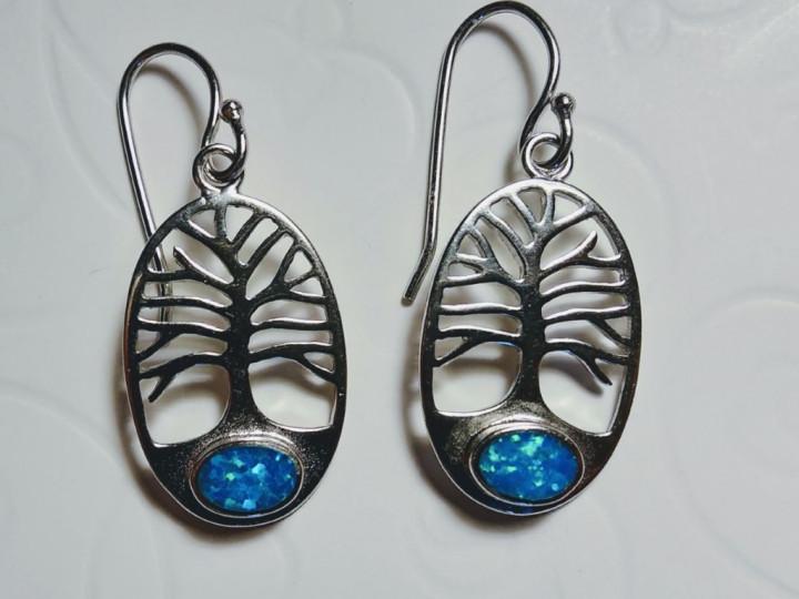 Tree of Life dangle Earrings - Blue - 1,3x2cm