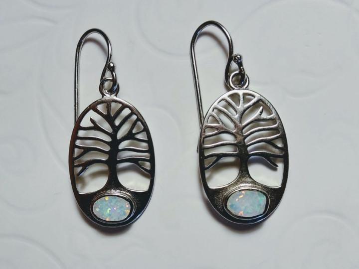 Tree of Life dangle Earrings - White - 1,3x2cm