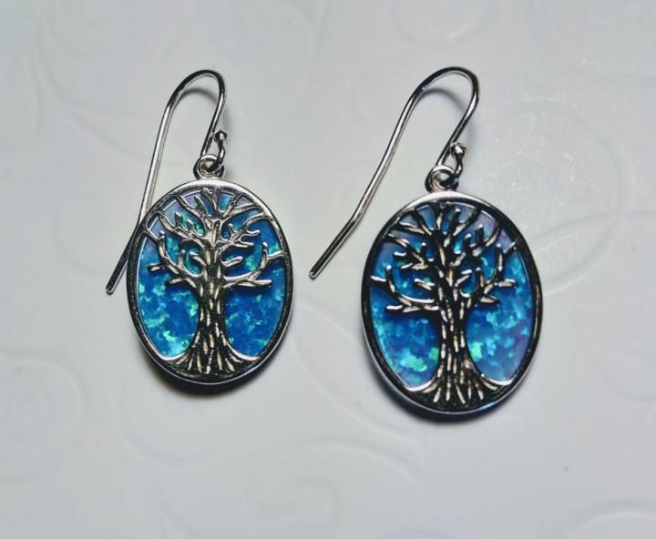 Tree of Life dangle Earrings - Blue - 1,5x1,8cm
