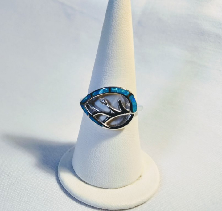 Tree of Life Ring - Blue - 1,5x2cm Size 17