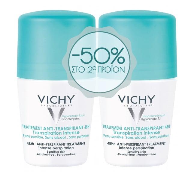 Vichy Deodorant Roll On 48h Anti-perspirant 2pcs