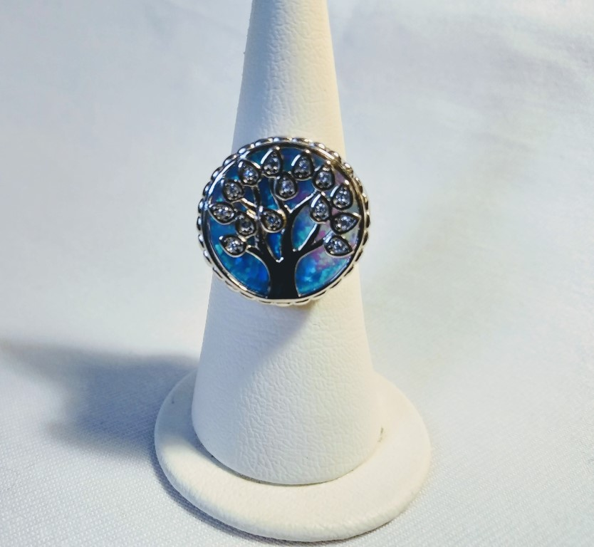 Tree of Life Ring - Blue - 2x2cm Size 14,5