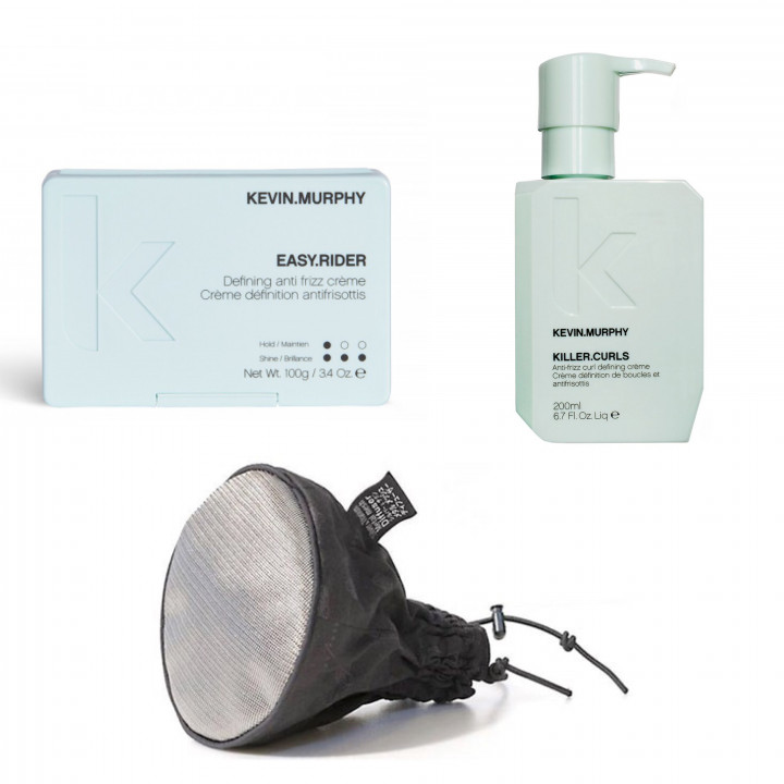 Easy Curls with Y.S. PARK Silver & Titanium Metal Mesh Diffuser - Large size  & KM Killer Curls 200ml