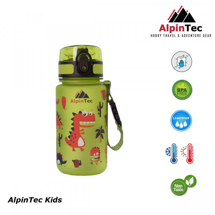 ALPIN TEC WATER BOTTLE KIDS 350ML - DINO GREEN