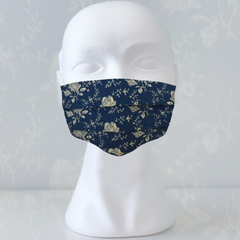 Cloth Face Masks For Adults - 17,5 x 10cm and expandable - Blue Flower