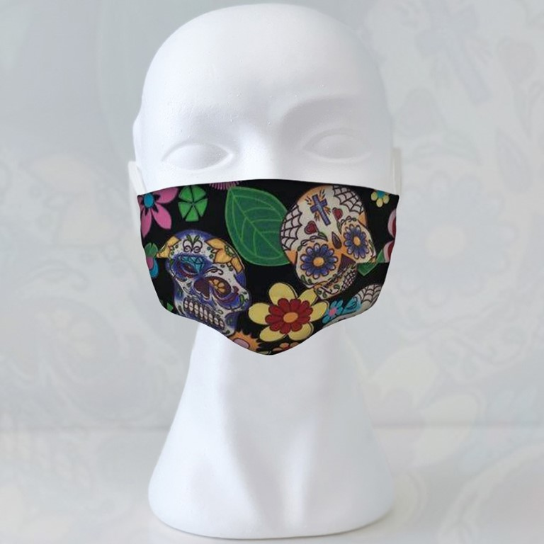 Cloth Face Masks For Adults - 17,5 x 10cm and expandable - Skulls
