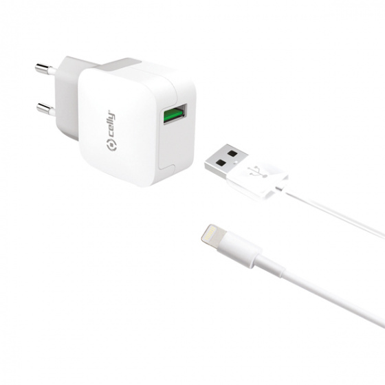 Celly Travel Adapter Turbo with Lightning Cable White