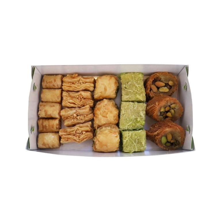 BOX OF LEBANESE SWEETS (BAKLAVA) MIX (PINE NUTS, CASHEWS, PISTACHIOS) - 500gr