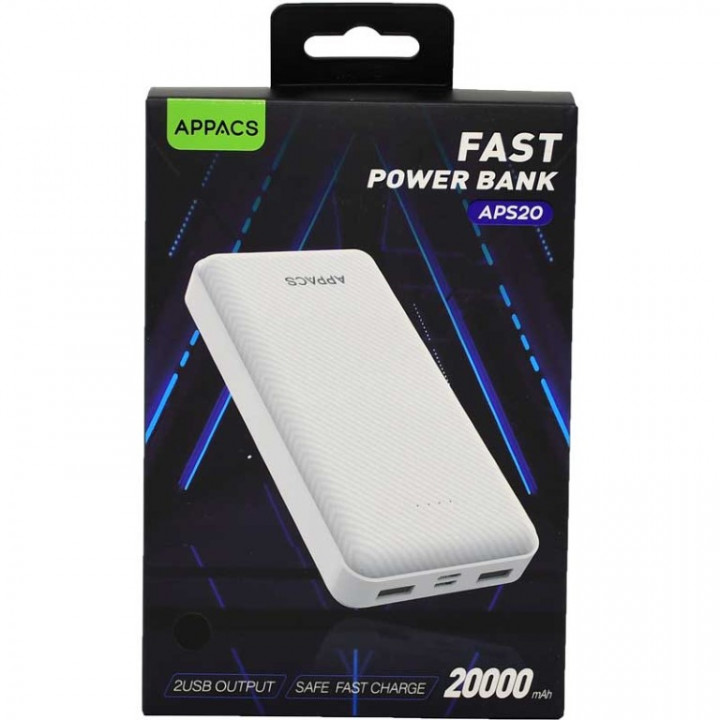 Appacs S20 Power Bank 20,000mA Fast Charging +2USB