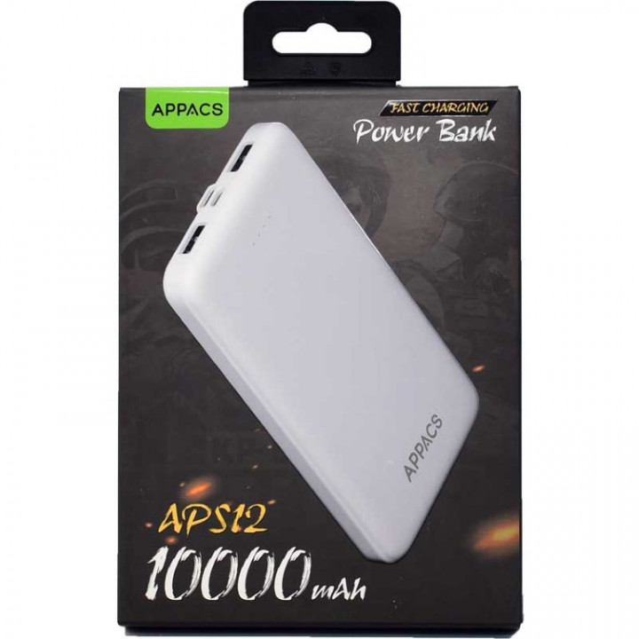 Appacs S12 Power Bank 10,000mA Fast Charging+2USB