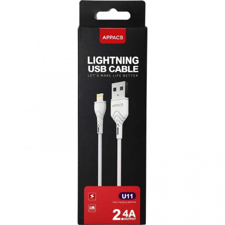 Appacs U11 Lightning USB Cable iPhone, 1m, 2.4A Fast Charging