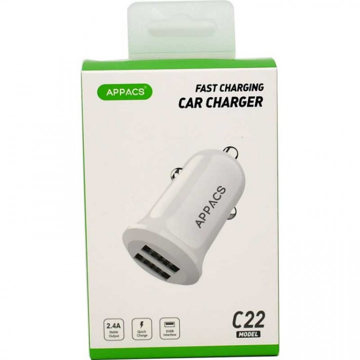 Appacs C22 Dual USB Car Charger - Fast Charging 2.4A