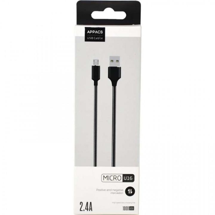 Appacs U16 Micro USB Cable Metal, Samsung-Huawei, 1m, 2.4A Fast Charging