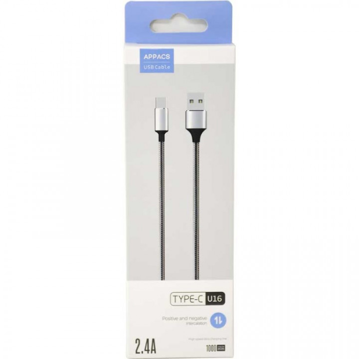 Appacs U16 Type-C Metal Cable, Samsung-Huawei, 1m, 2.4A Fast Charging