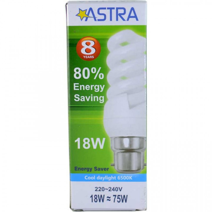 ASTRA SAVING LAMP B22/18W=75W-C.D.L.1008