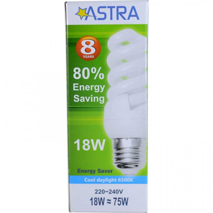 ASTRA SAVING LAMP E27/18W=75W C.D.L 1008 -F