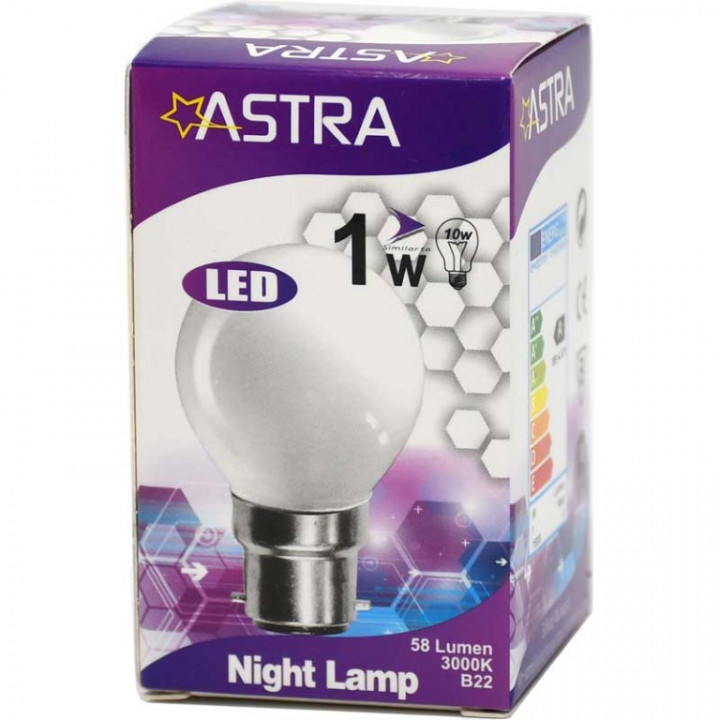 LAMP LED ASTRA B22/1W=8w-90 LUMEN BOX