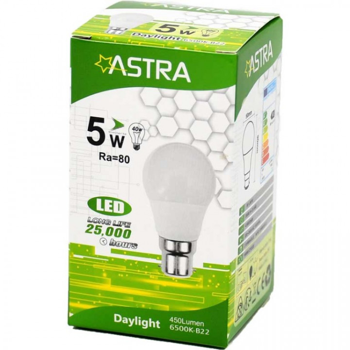 LAMP LED ASTRA B22/5W=40w 450 LUMEN BOX