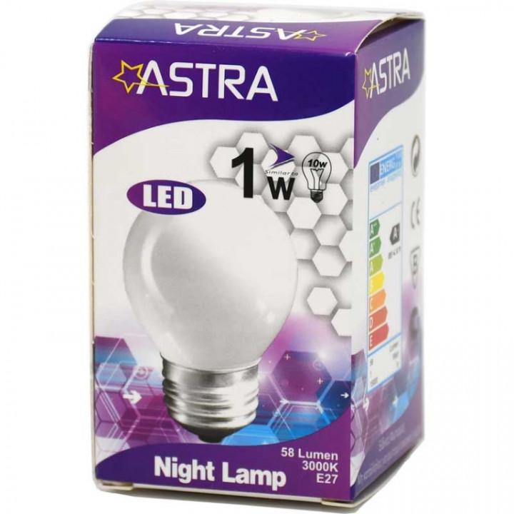 LAMP LED ASTRA E27/1W=8w-90 LUMEN BLIST