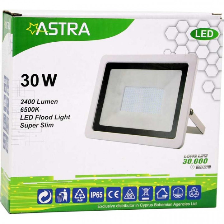 FLOOD LIGHT LED 30W IP65 WH SLIM - ASTRA