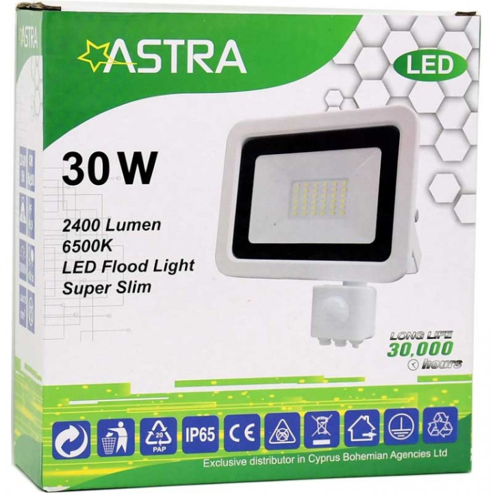 FLOOD LIGHT LED 30W+SENSOR IP65 - ASTRA