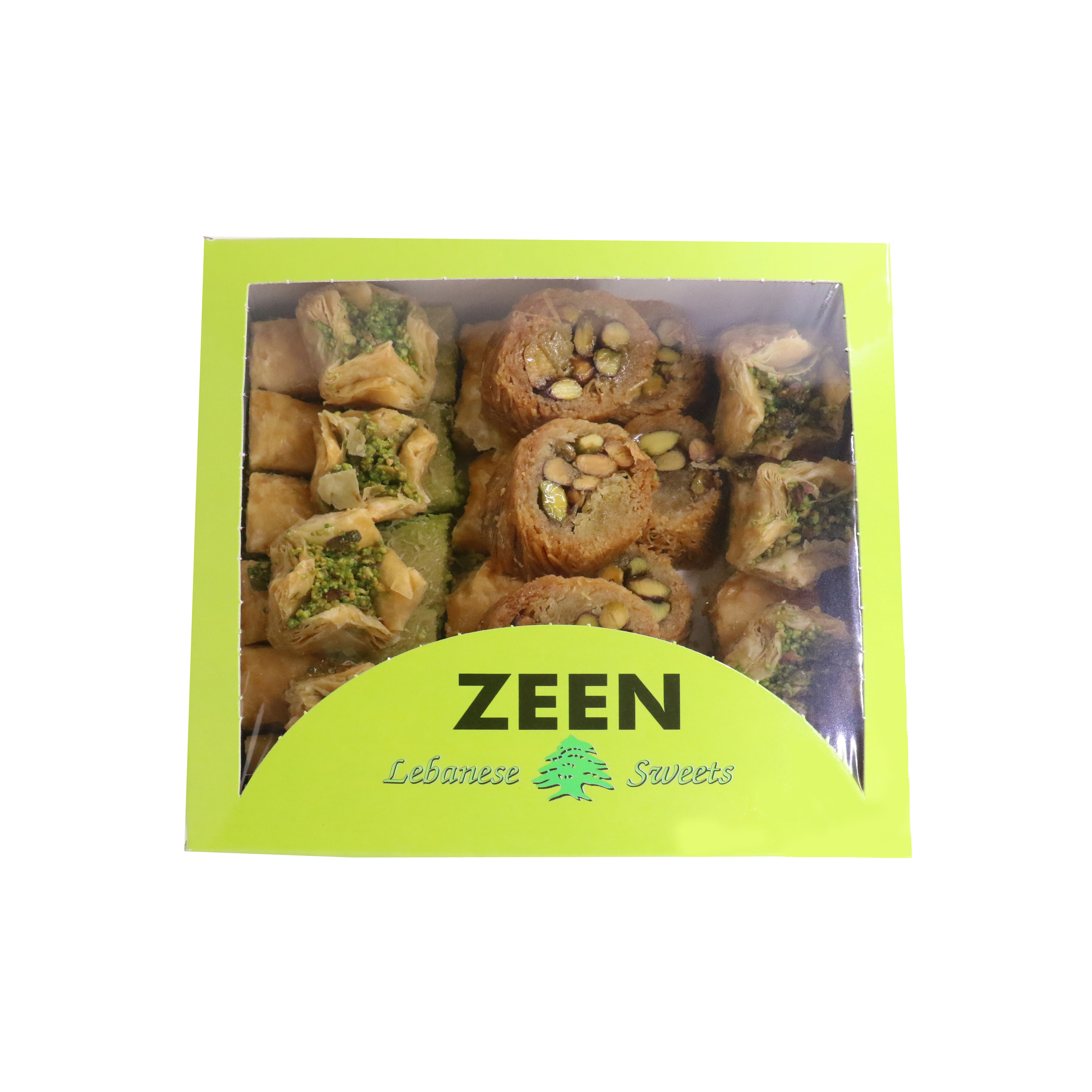 BOX OF LEBANESE SWEETS (BAKLAVA) WITH PISTACHIOS - 1kg