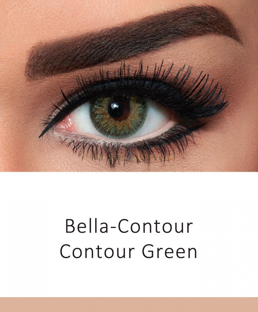 BELLA COULOURED CONTACT LENSES - CONTOUR GREEN -3.25
