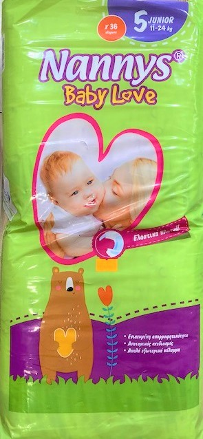 Nannys babylove diapers x40 - Size 5 (11-24kg)