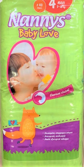 Nannys babylove diapers x40 - Size 4 (7-18kg)