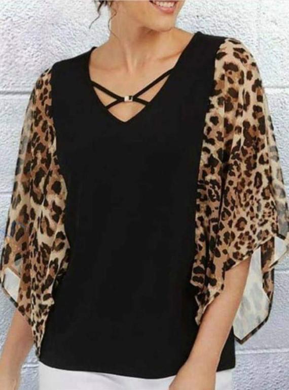 Blouse - black/animal print sleeves  - Large/XL