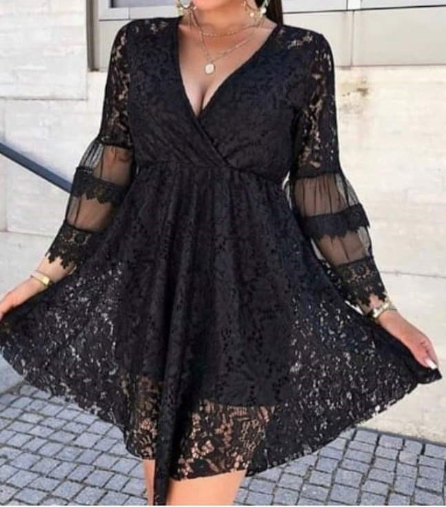 Black lace dress - size 8