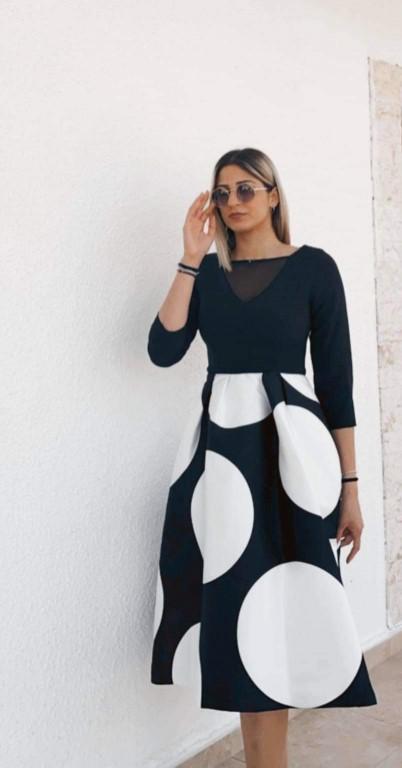 Dress - Black & White circles - size 14