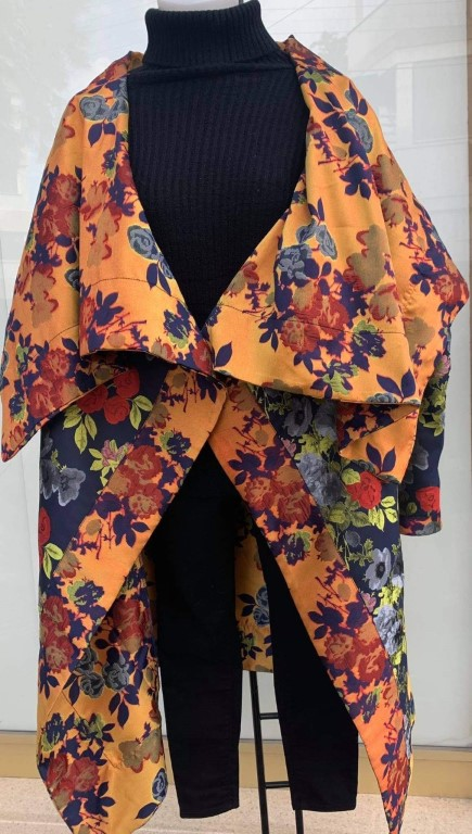 Midi Coat with flowers - ONE SIZE