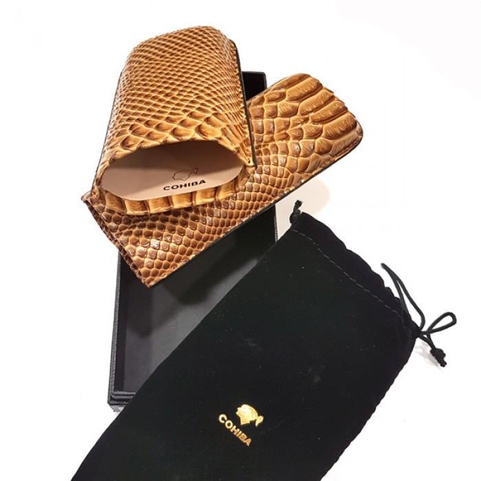 Cohiba 2ct leather case,25mm dia