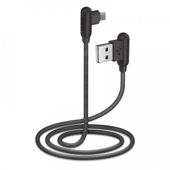 SBS Micro-USB cable, 1m length, metal connectors 90° angle B