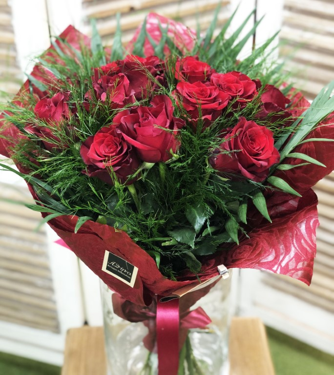 Bouquet with 12 Red Roses and Green Leaves