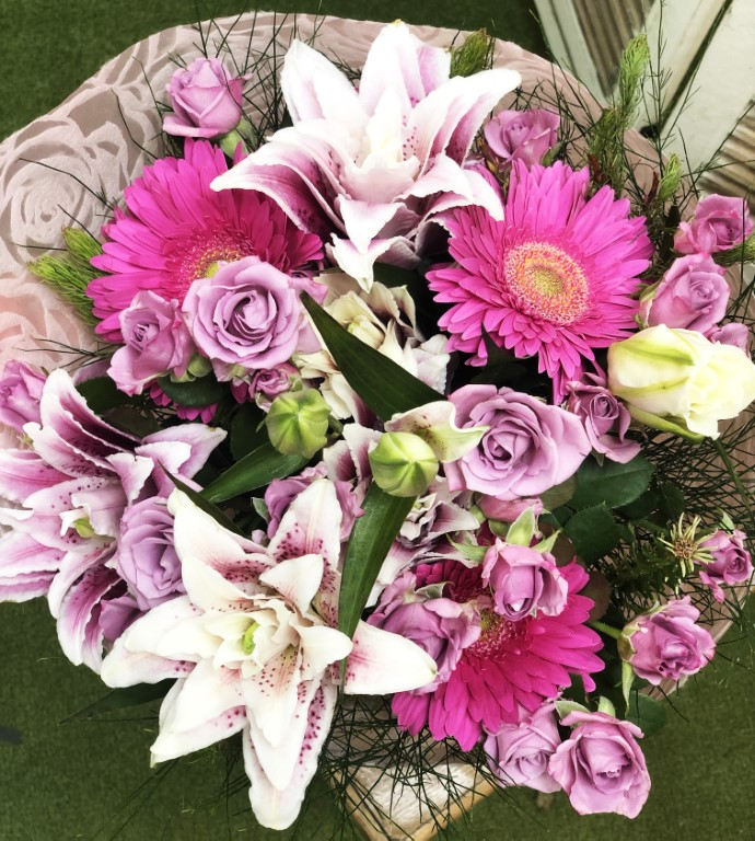 Bouquet of Mini Lilac Roses, with Pink Liliums, and Pink Kerpera