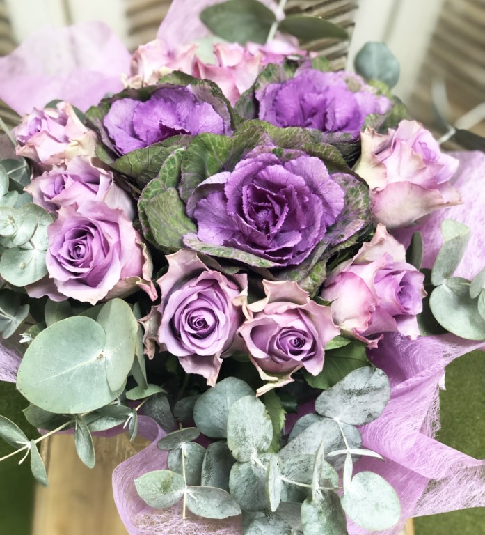 Bouquet of Lilac Roses, with Purple Turnip and Eucalyptus