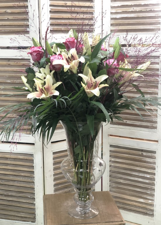 Bouquet of Pink Lilium and Fuxia Roses, with Mixed Flowers Greens. Includes the Vase