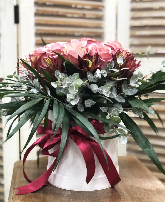 Bouquet of Vintage Roses, with Eucalyptus and Mixed Flowers Greens in a White Box
