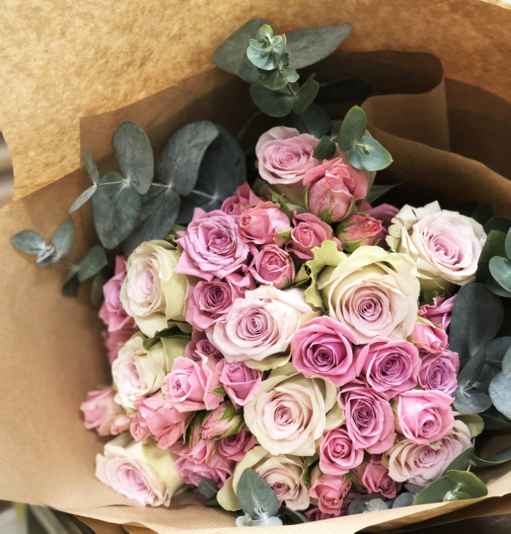 Bouquet of White and Pink Roses, with Eucalyptus