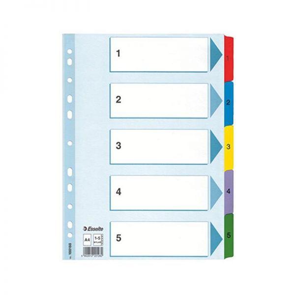 ESSELTE DIVIDERS 5 CARD