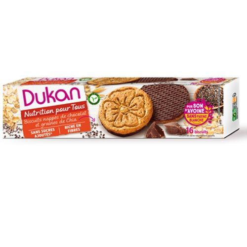 Dukan Μπισκότα βρώμης με επικάλυψη σοκολάτας και σπόρους chia 200g