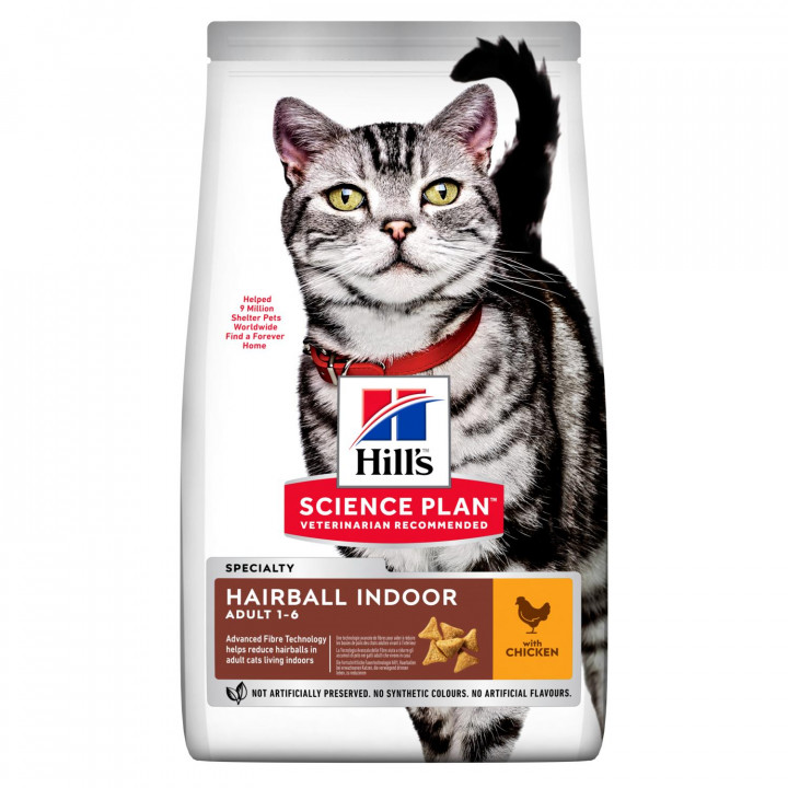 Hill's Science Plan Young Adult Hairball Indoor 1-6 Chicken 1.5Kg