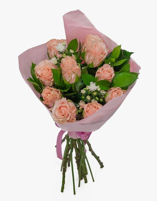Bouquet of 10 roses - PEACH