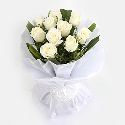 Bouquet of 10 roses - WHITE